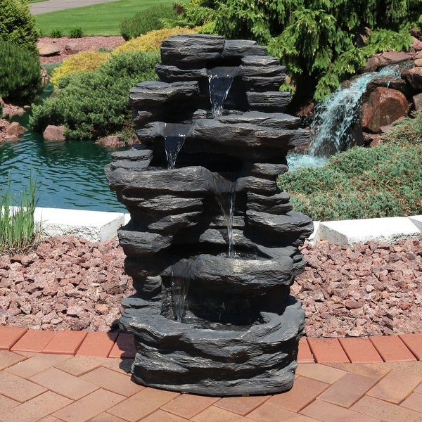 Sunnydaze Rock Falls Electric Waterfall Fountain with LED Lights 39 Inch Tall