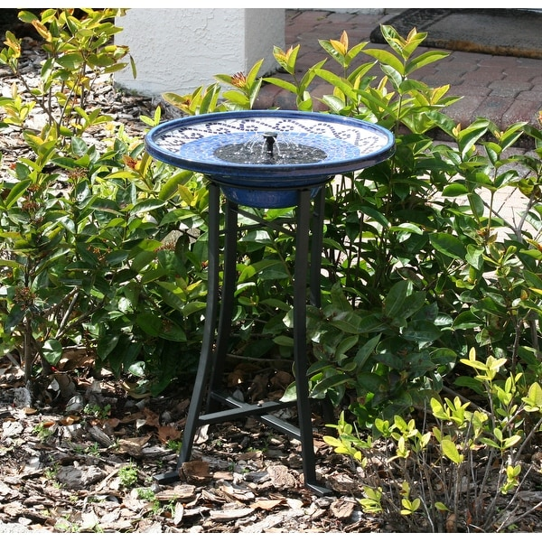 Smart Solar Mosaic Ceramic Solar Birdbath Fountain with Metal Stand