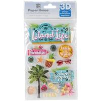 "Paper House 3D Stickers 4.5""X7""-Island Life"