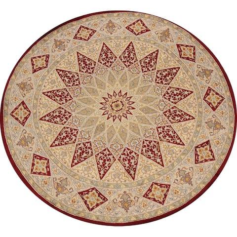 "Wool/ Silk Vegetable Dye Royal Tabriz Oriental Area Rug Handmade - 6'4"" x 6'4"" Round"