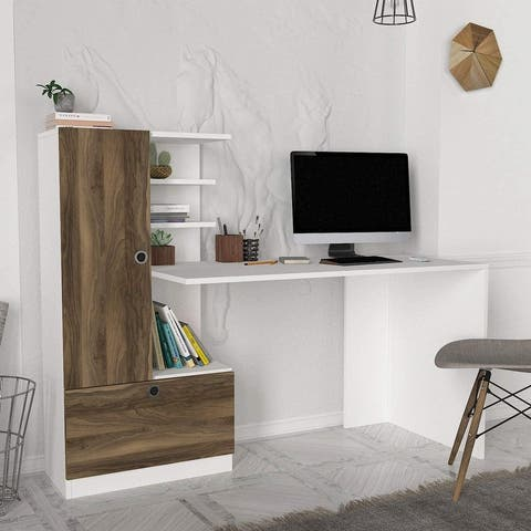 Domingos Desk White-Brown