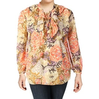 Lauren Ralph Lauren Womens Plus Blouse Sheer Printed