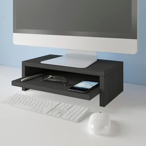 Way Basics Deluxe 2-Shelf Computer Monitor Stand PC Desktop Riser, Black Wood Grain