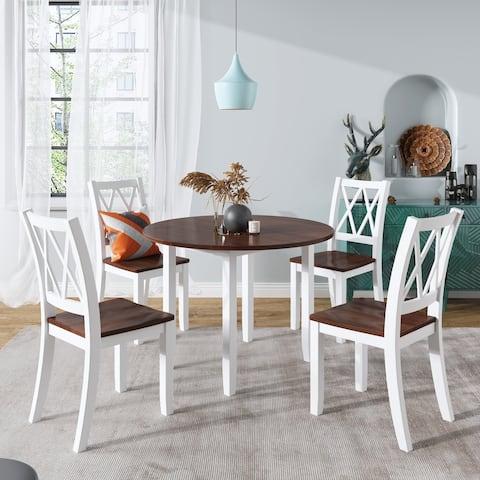 TiramisuBest Dining Table Set Round Wood Drop Leaf 5 Piece Dining Set