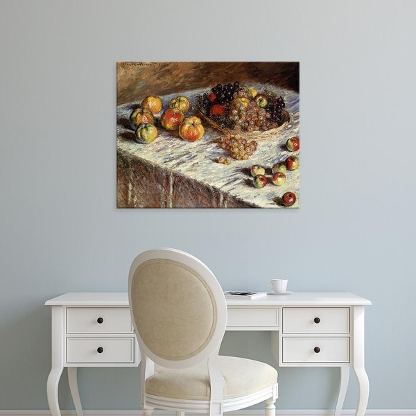 Easy Art Prints Claude Monet's 'Still Life with Apples and Grapes' Premium Canvas Art