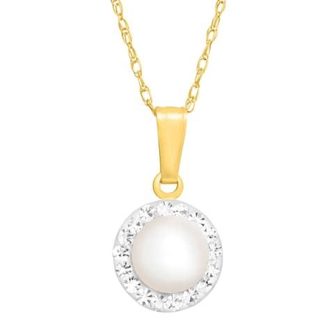 Freshwater Pearl Pendant with Swarovski Crystal in 14K Gold