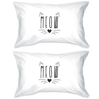 Meow Cotton Pillowcases Queen Size Cat Lover High Quality