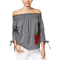 Gypsies and Moondust Womens Juniors Blouse Striped Off-The-Shoulder