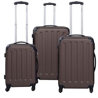 GLOBALWAY 3 Pcs Luggage Travel Set Bag ABS+PC Trolley Suitcase Brown
