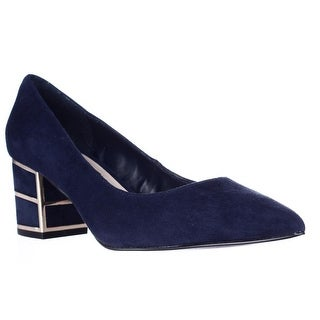 Steve Madden Buena Pointed Toe Block Heel Kitten Pumps - Navy
