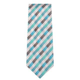 Marquis Men's Light Blue & Brown Plaid Neck Tie & Hanky Set TH101-008 - regular