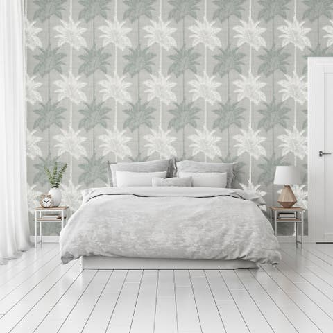 Arthouse Palm Luxe Grey & Duck Egg Wallpaper