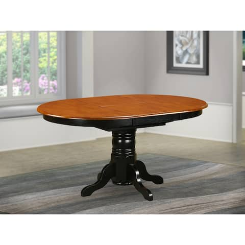 AVT-BLK-TP Butterfly leaf Oval Table - Cherry Table Top and Black Finish Pedestal Legs Hardwood Table (Finish Option)