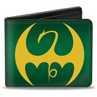 Marvel Comics Iron Fist Dragon Logo + Iron Fist Green Yellow Bi Fold Wallet - One Size Fits most