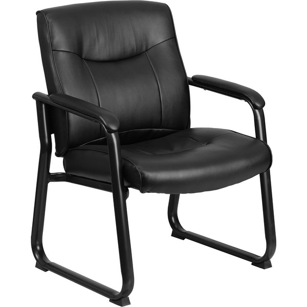 Alexandria Bay Black Leather Stylish Executive Side Comfortable Reception/Guest Chair w/Sled Base