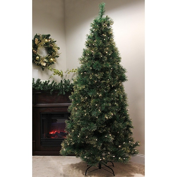 4.5' Pre-Lit Slim Tattinger Long Needle Pine Artificial Christmas Tree - Clear