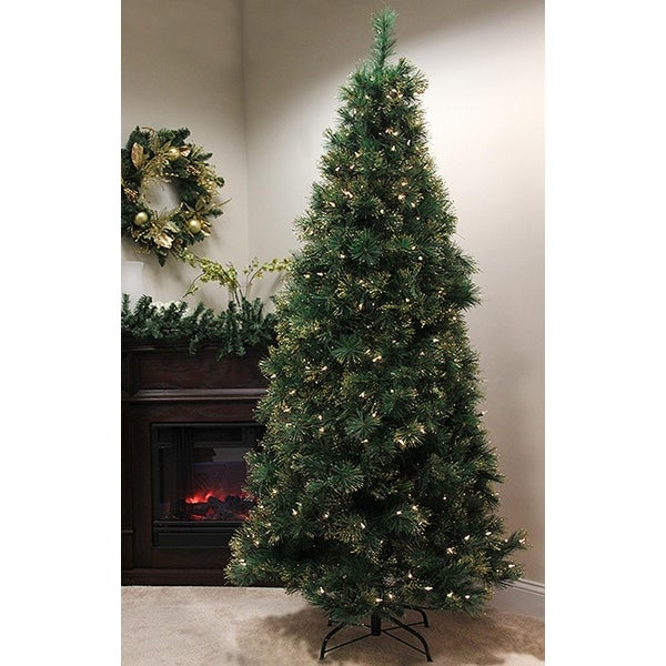 7.5' Pre-Lit Slim Tattinger Long Needle Pine Artificial Christmas Tree - Clear