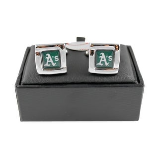 MLB Oakland A's Athletics Square Cufflinks with Square Shape Logo Design Gift Box Set