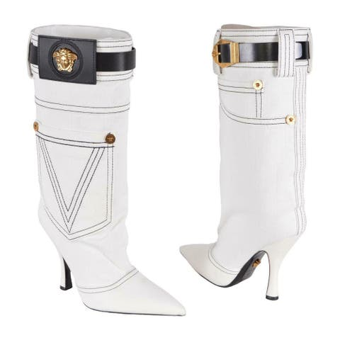 Versace White Denim Leather Medusa Logo Army Boots Shoes
