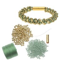 Refill - Deluxe Spiral Beaded Kumihimo Bracelet - Green and Gold  - Exclusive Beadaholique Jewelry Kit