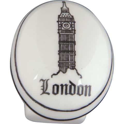 "Atlas Homewares 3142 Travel 1-1/4"" Long Oval Cabinet Knob - Ceramic"