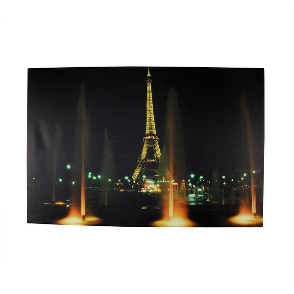 "LED Lighted Famous Eiffel Tower Paris France at Night Canvas Wall Art 15.75"" x 23.75"""