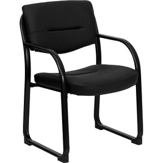 Silkeborg Black Leather Executive Side Reception Chair w/Sled Base