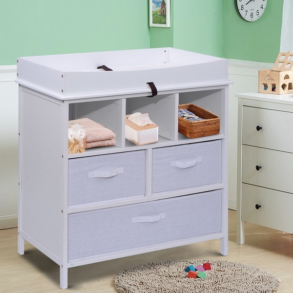 Costway Infant Baby Diaper Station Nursery Furniture Changing Table w/3 Baskets Storage White