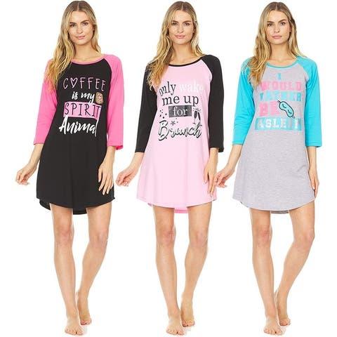 3 Pack: Woman's 100% Cotton Soft Printed Long Sleeve Sleep Dress Night Gown Pajama Shirt