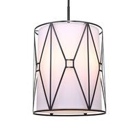 "Woodbridge Lighting 17115-S117A2 Regan 5 Light 17"" Wide Single Full Sized Pendant with Fabric Shade and Metal Cage"