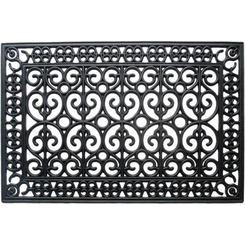 A1HC First Impression Rubber Paisley 24 In. X 36 In. Beautifully Hand Finished Elegant Large Double Doormat