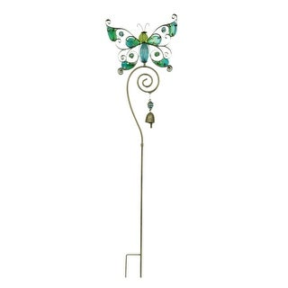 Colorful Glass Butterfly Decorative Metal Garden Yard Stake