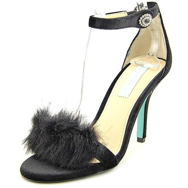 Betsey Johnson Womens nolte Fabric Open Toe Casual Slingback Sandals - Black Velvet - 7.5