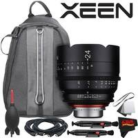 Rokinon Xeen 24mm T1.5 Lens for Canon EF Mount With Professional Lens Backpack and Accessories - black