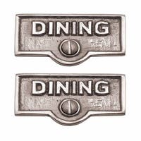 2 Switch Plate Tags DINING Name Signs Labels Chrome Brass | Renovator's Supply