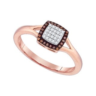 10k Pink Rose Gold Red Colored Diamond Womens Square Cluster Contrasting Split-shank Ring 1/7 Cttw - White