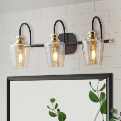 ExBrite 3/4-light Bathroom Gold Vanity Lights Modern Wall Sconce Lighting with Clear Glass Shade