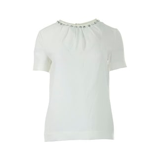Kate Spade Womens Textured Embellished Blouse