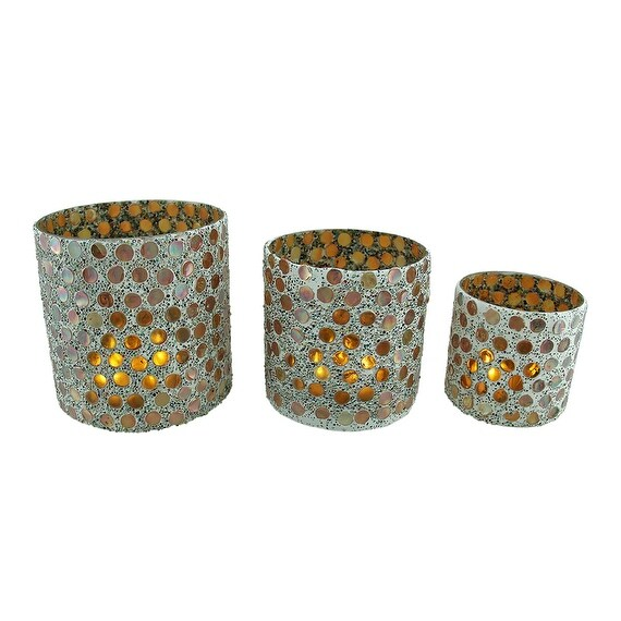 3 Piece Colorful Round Iridescent Mosaic Glass Votive Candle Holder Set Overstock 16941099