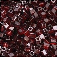 Miyuki 4mm Glass Cube Beads Transparent Dark Red Luster 304 10 Grams
