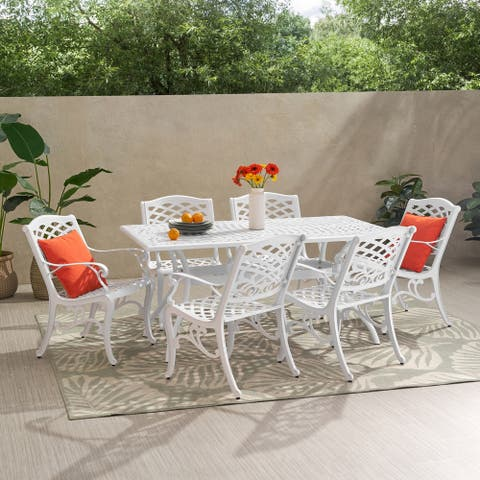 Phoenix Traditional Outdoor Aluminum 7 Piece Dining Set by Christopher Knight Home