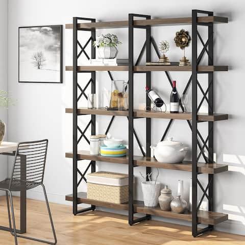 Industrial 5 Tier Solid Wood Bookcase, 5-Shelf Bookshelf