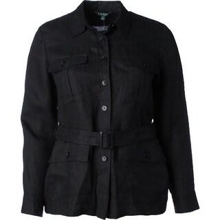 Lauren Ralph Lauren Womens Jacket Linen Button-Down