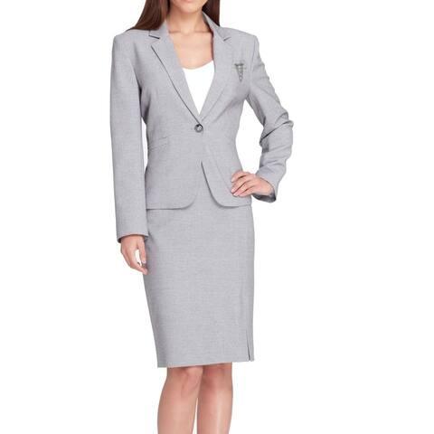 Tahari by ASL Women Skirt Suit Gray Size 14 Single Button Notch Collar