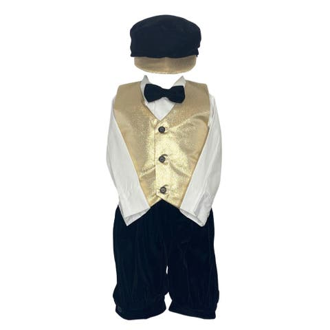 Lito Gold Poly Metallic Vest Knicker Hat Christmas Outfit Little Boys