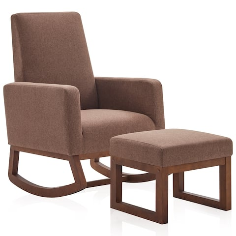 BELLEZE Fabric/ Faux Leather Rocking Armchair Padded Seat With Ottoman - standard