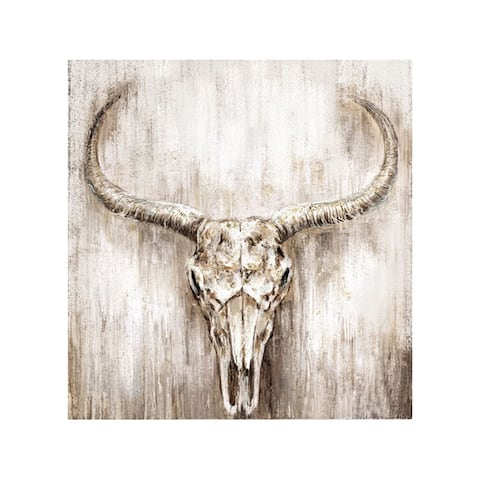Monoprice BOVINE HAND PAINTED WALL ART 32inx32in Complete with hanging bracket, Stretched Canvas