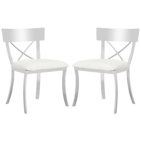 "SAFAVIEH Zoey White/ Chrome Side Chair Set of 2 - 18.5"" x 21.9"" x 33.3"""