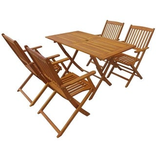 vidaXL Outdoor Dining Set 5 Piece Folding Solid Eucalyptus Wood Garden Patio