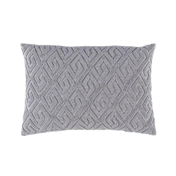 "Cloud Gray Contemporary Textured Woven Decorative Throw Pillow – Down Filler ""13 x 19"""